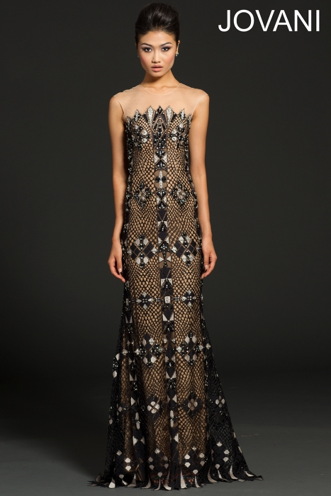 sexy black and nude lace prom dress 2015 by jovani 99306