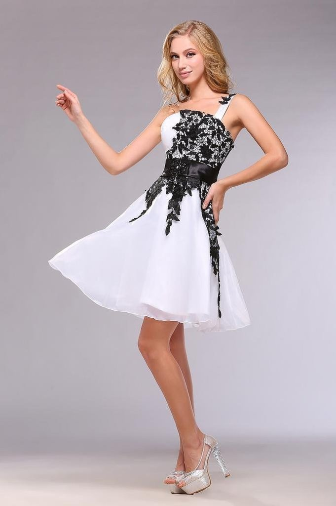stunning white black lace prom dress 2015 by MerMaid