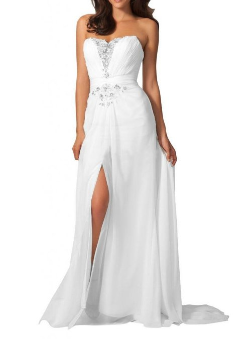 Gorgeous Bridal strapless white prom dress 2015with a slit