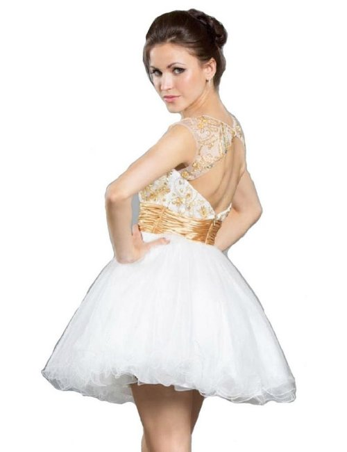 Meier  elegant short white-gold prom dress 2015 with open back