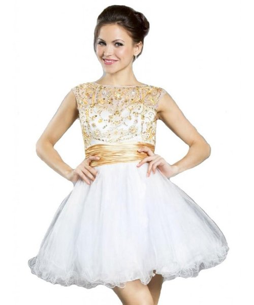 Meier elegant short white-gold prom dress 2015