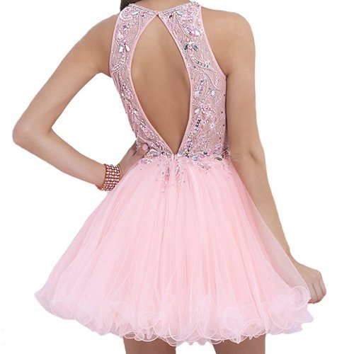 VILAVI cute short pink prom dress with crystals and open back 2015