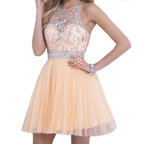 VILAVI short peach prom dress 2015 with illusion neckline-