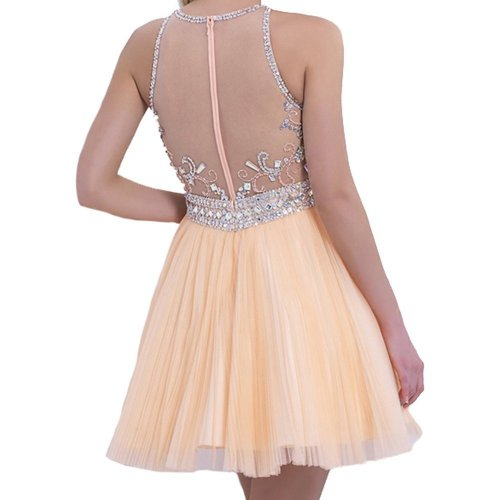 VILAVI short peach prom dress 2015 with illusion neckline