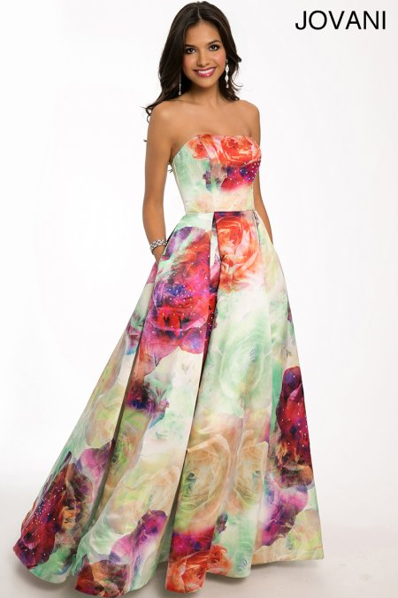 strapless floral galaxy Jovani prom dress 2015