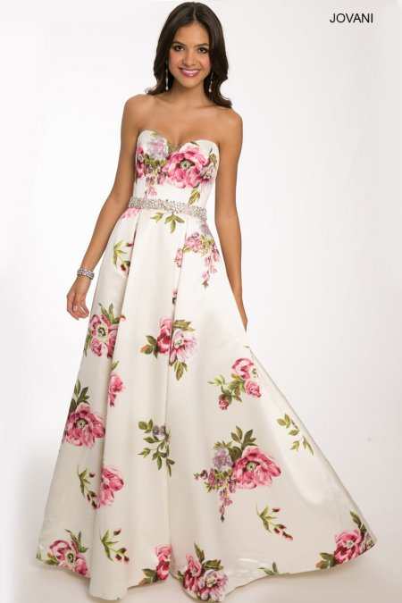 strapless floral jovani prom ball gown 2015