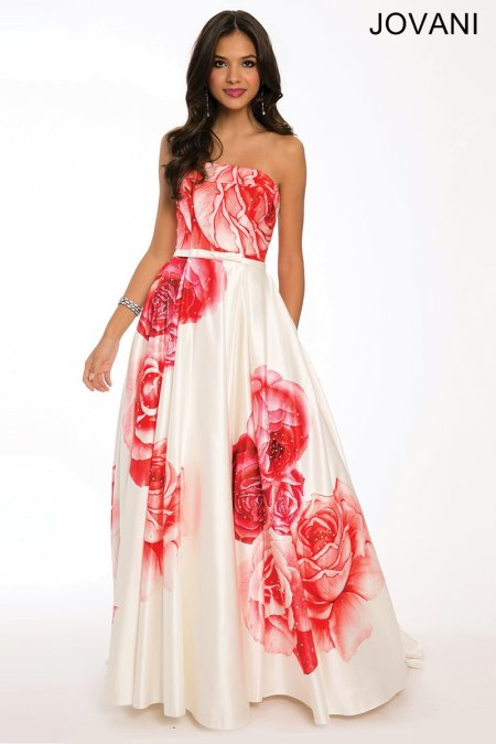 strapless white-red floral Jovani prom dress 2015