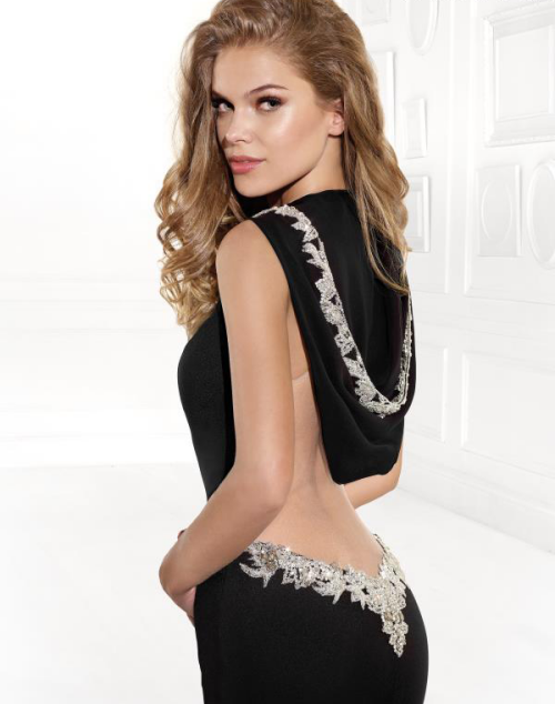 black hooded prom dress low back silver 2015 tarik-ediz-92403