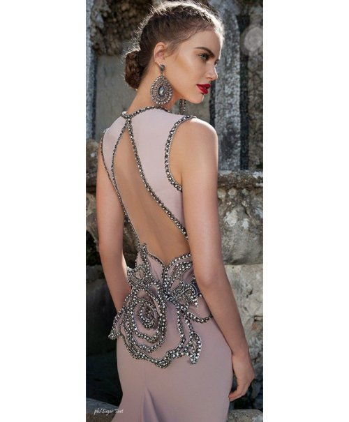 taupe prom dress with rose rhinestone detail 2015