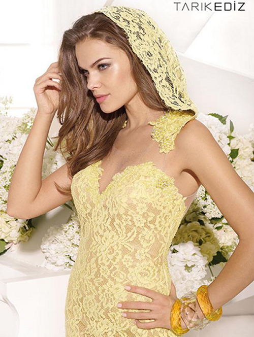 yellow lace hooded prom dress 2015 tarik-ediz-92447