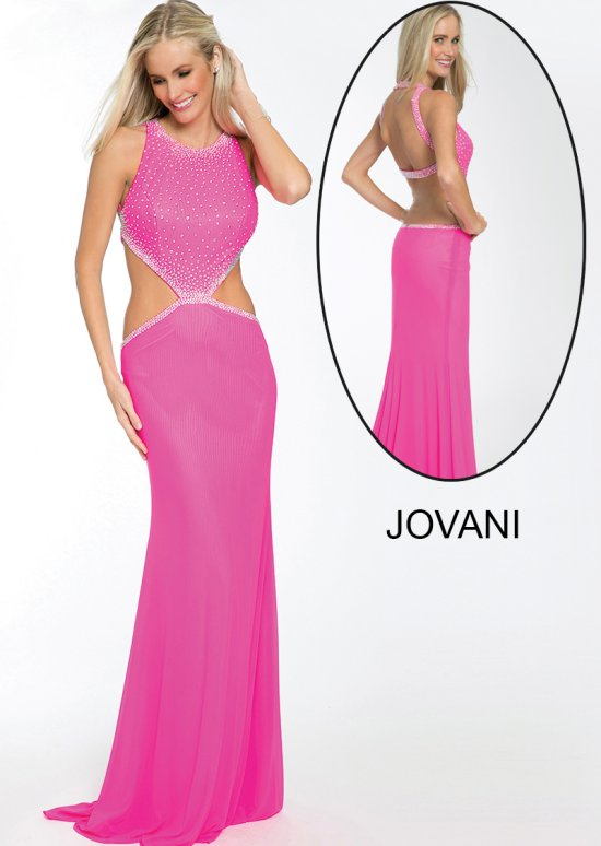 20011-sexy pink prom dress with side cut outs 2015 by Jovani