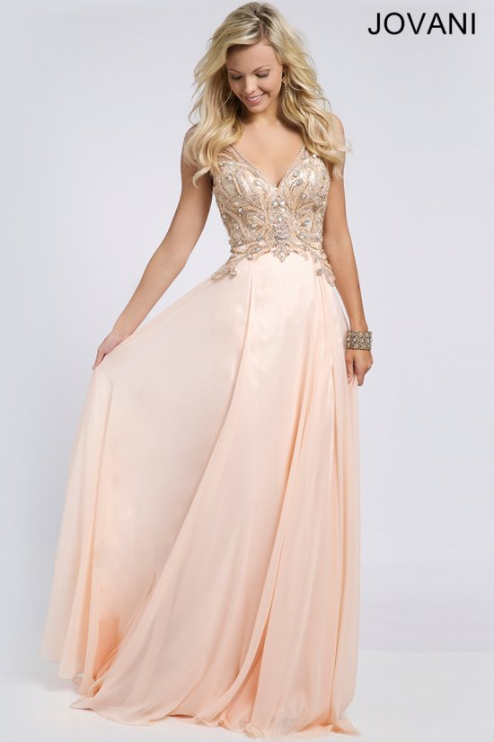 22350-elegant beaded blush prom dress 2015 by Jovani