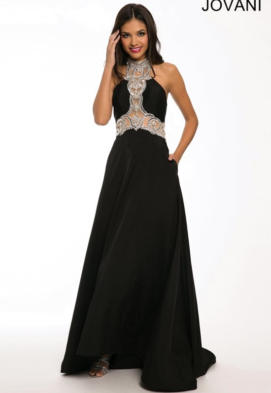 22617-elegant black prom dress 2015 by Jovani