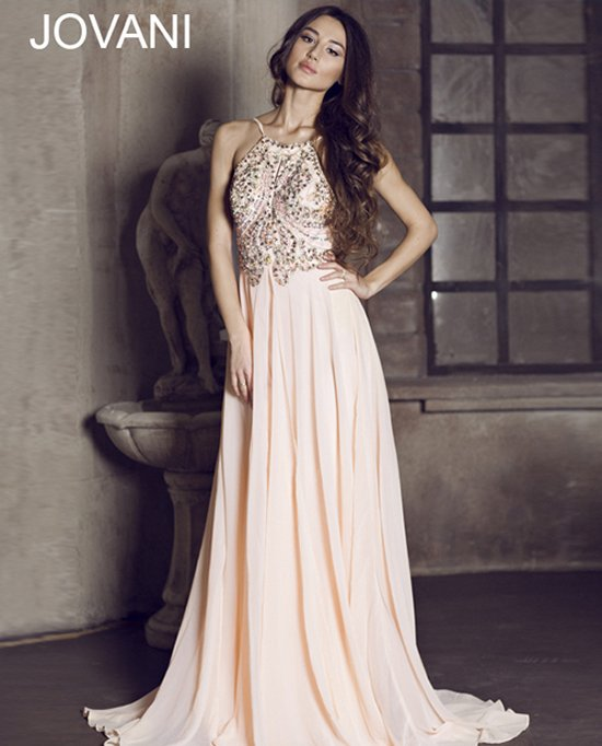 92605-beaded blush halter prom dress open back 2015 by Jovani