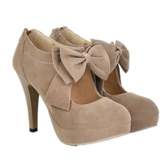 cute nude prom ankle boots with bow 2015 by TRURENDI