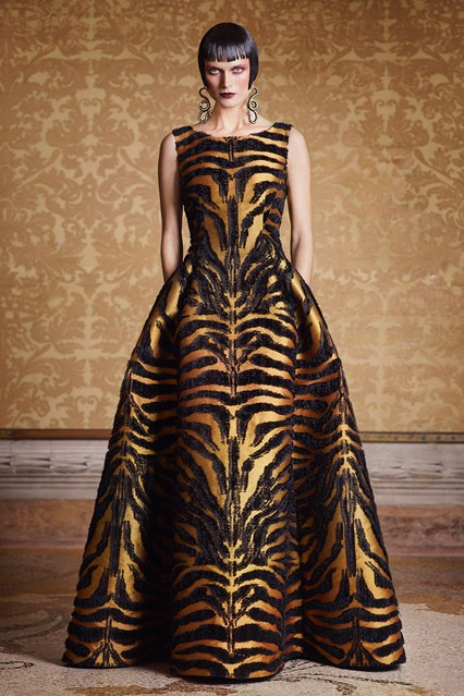 Alberta Ferretti SS 2016 black and gold tiger print dress