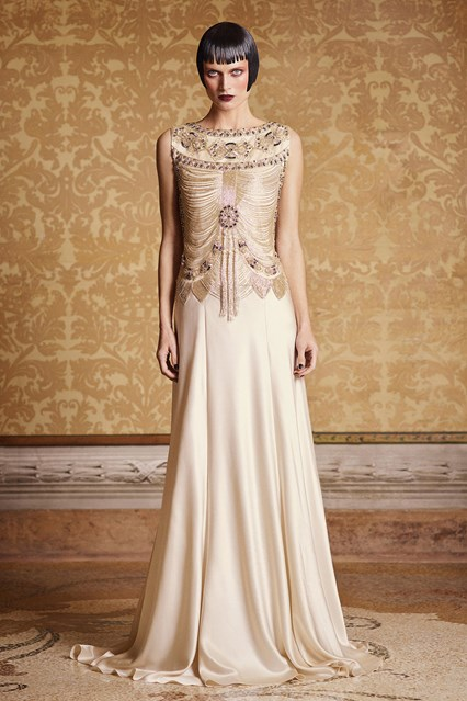 Alberta Ferretti SS 2016 long beige gold prom dress