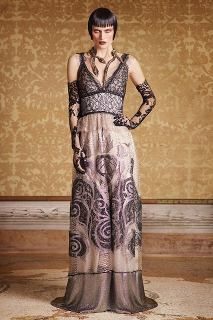 Alberta Ferretti SS 2016 pretty long lace prom dress
