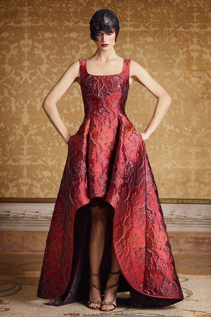 Alberta Ferretti SS 2016 red baroque high low prom dress