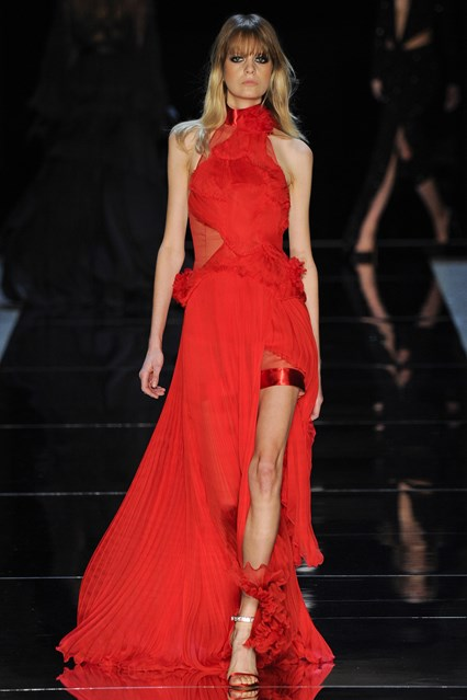 Alexandre Vauthier SS 2016 halter red prom dress with a slit