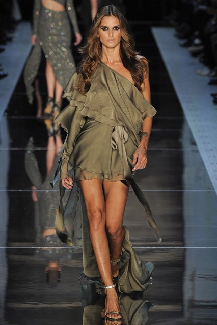 Alexandre Vauthier SS 2016 satin olive green off the shoulder prom dress