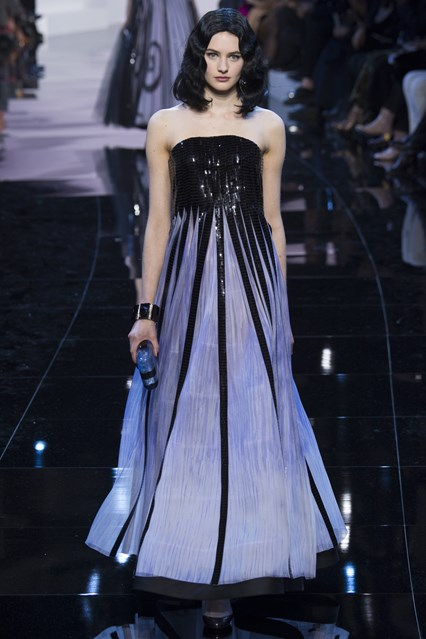 Giorgio Armani Prive SS2016 blue black sequin prom dress