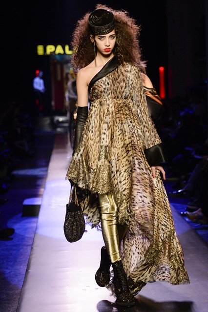 Jean Paul Gaultier SS2016 leopard one shoulder flowy prom dress