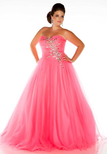 Gorgeous Pink Plus Size Prom Dresses 2014 Prom Night Styles