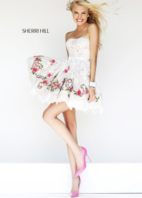 Short White Prom Dresses with Pink Details 2014 | Prom Night Styles