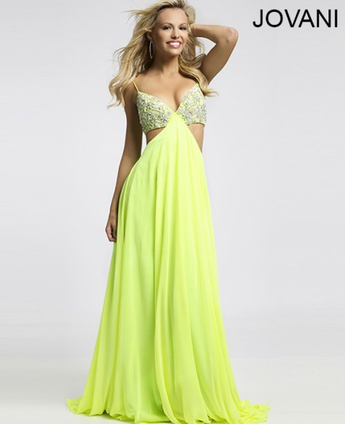 sexy lime green prom dress with cut outs and open back 2015 by Jovani 21025